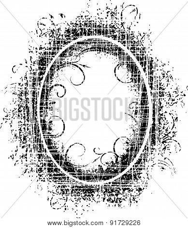 Grunge Floral Decor - Black Retro Oval Frame With Cracks.