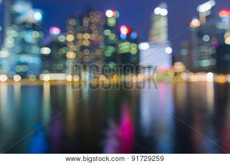Singapore city Skyline at Night. Blurred Photo bokeh