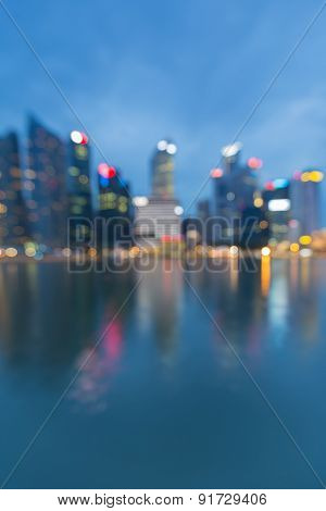 Out of focus of city lights with water reflection