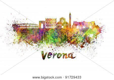 Verona Skyline In Watercolor