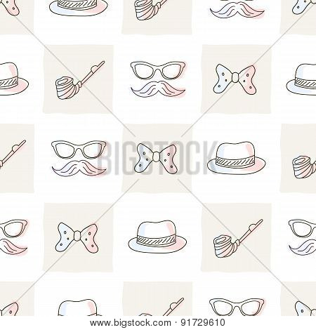 Hipster seamless pattern with ties and glasses, hat, mustaches