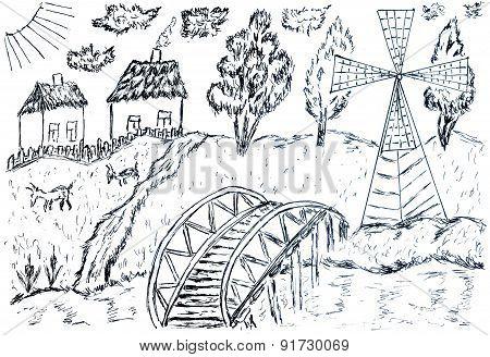 Rural Landscape Sketch