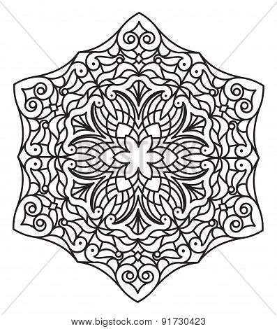 Abstract Vector Round Lace Design - Mandala, Decorative Element.