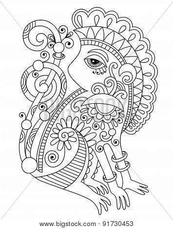 drawing of ethnic monkey in decorative ukrainian style