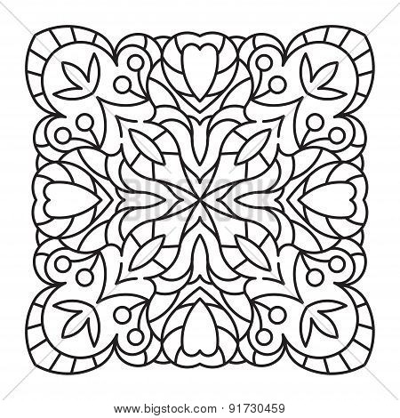 Abstract Vector Square Lace Design In Mono Line Style - Background, Decorative Element