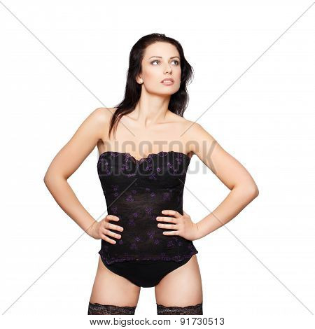 Sexy Woman In Corset Posing
