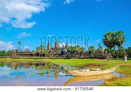 Angkor Wat with old boat, Cambodia