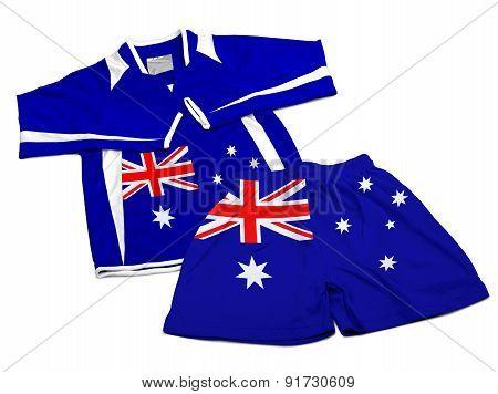 Flag From Australia On Nylon Soccer Sportswear Clothes