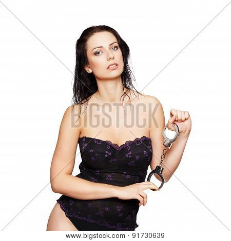 Sexy Woman Posing With Handcuffs Isolated