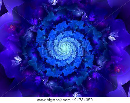 Magic Blue Spiral Fractal In Space