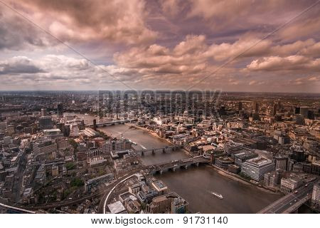 Aerial view of the city of London with beautiful sky.