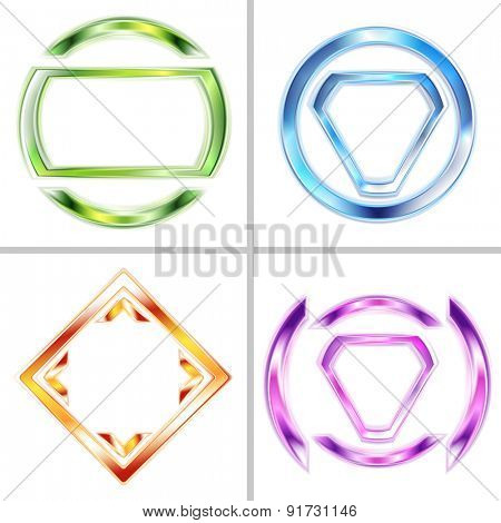 Set of bright tech logo backgrounds. Raster art design