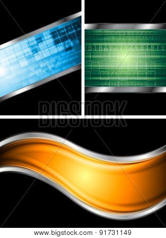 Set of abstract metallic technology backgrounds. Raster art design