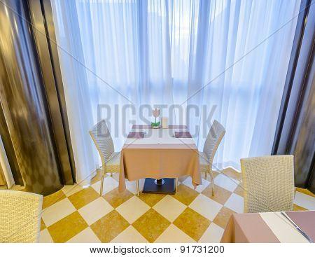 Interior of a hotel restaurant.