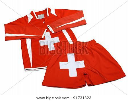 Flag From Switzerland On Nylon Soccer Sportswear Clothes