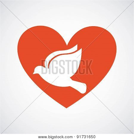 Dove and Heart design over gray background vector illustration