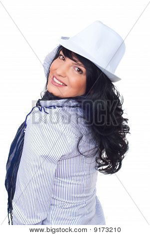 Happy   Woman Wearing White Hat