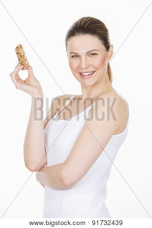 woman with fruit bar