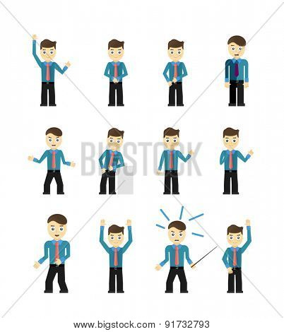 Set of cute young businessmen character poses isolated on white. Vector illustration