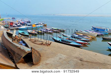 Boats On Sacred River Ganges Foggy Morning. Varanasi