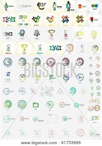 Logo collection, abstract geometric business icon set. Modern design