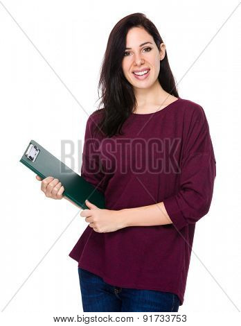 Confident woman hold with clipboard