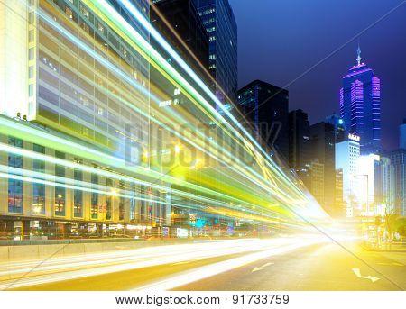 Fast moving car light in Hong Kong