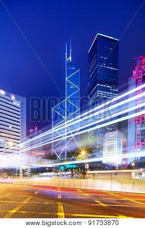 Hong Kong with traffic trail at night