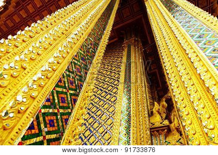 Golden pillar in thai temple
