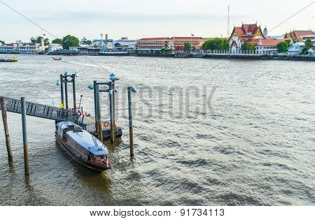 Boat piers in Chao Phraya River
