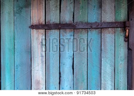 Blue Wall Made Of Wood With Hinge