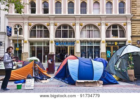 Homeless protesters in Manchester, UK.