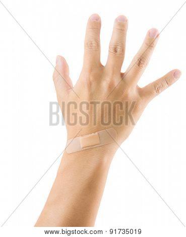 Plaster on hand