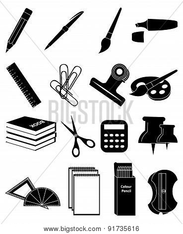 Stationary icons set