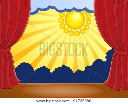 Stage with abstract sun 5 - eps10 vector illustration.