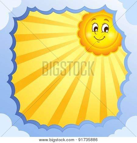 Cloudy frame with summer theme 1 - eps10 vector illustration.