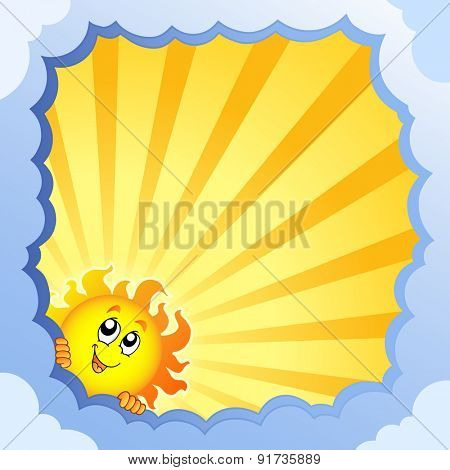 Cloudy frame with summer theme 2 - eps10 vector illustration.