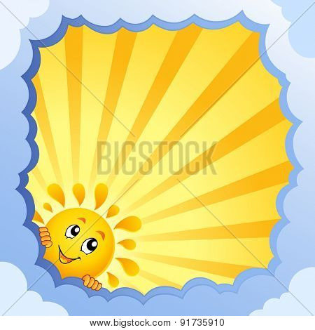 Cloudy frame with summer theme 3 - eps10 vector illustration.