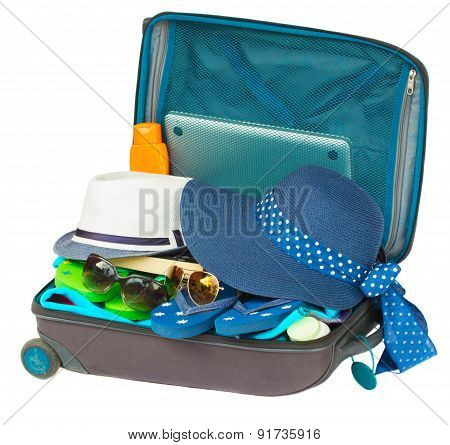 opne blue suitcase
