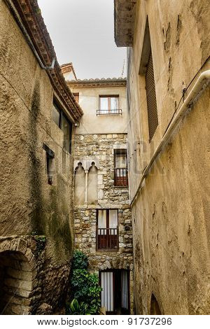 Narrow street in medeival town of Besalu