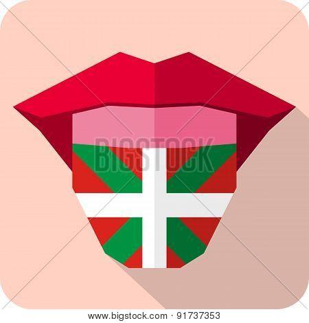 Tongue: Language Web Icon With Flag. Euskadi