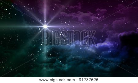Starry Night With Colorful Cloudy Sky