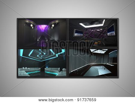 Cctv Monitor Display For Nightclub Interior