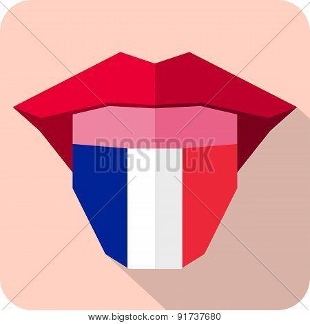 Tongue: Language Web Icon With Flag. France