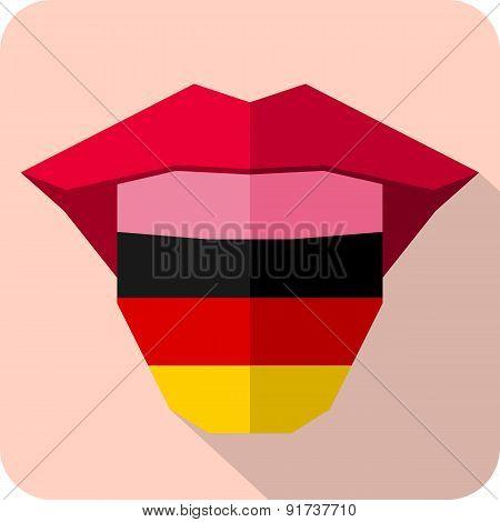 Tongue: Language Web Icon With Flag. Germany