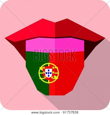 Tongue: Language Web Icon With Flag.portugal