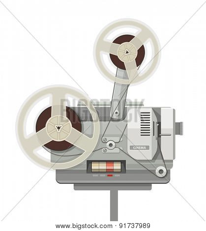 Vintage retro cinema projector for film show. Eps10 vector illustration. Isolated on white background