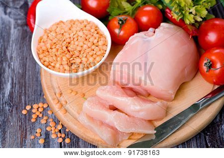 Vegetables, Raw Chicken And Fresh Lentils