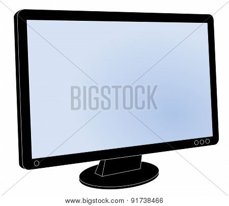 LCD flat screen computer monitor, screen blank