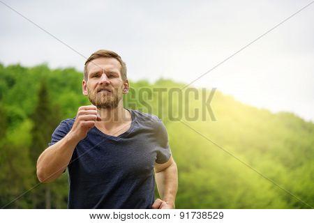 Man Running Outdoors.
